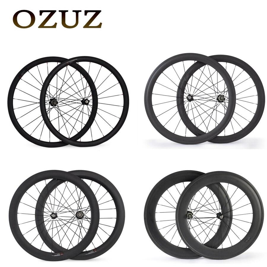 Цена за OZUZ 700C 24 мм 38 мм 50 мм 60 мм 88 мм Углерода Clincher Трубчатые Дорожный Велосипед Колеса Супер свет Колеса Углерода Гонки Колесная