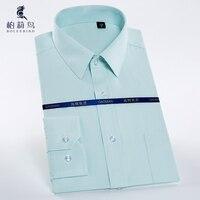 2016 Fall Men S Solid Plain Twill Stripe Business Dress Shirt Long Sleeve Slim Fit W