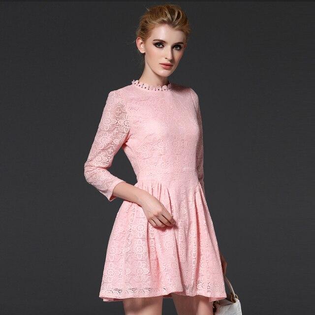 New Arrivals Women Lace Dress Pink Color Short Ball Gown Dresses ...