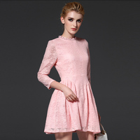 New Arrivals Women Lace Dress Pink Color Short Ball Gown Dresses Sweet Ladies Clothes ssd066