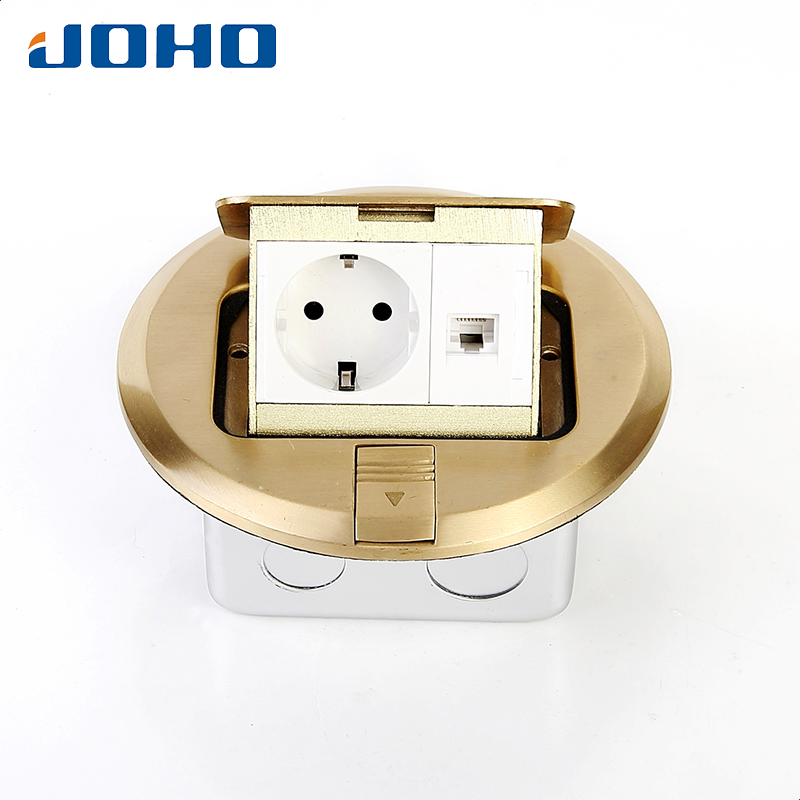 Brass Material Round type Floor socket eu with rj45 socket 16A socket Slow pop up brass slow pop up floor socket box with 15a 125v us socket rj45 computer data