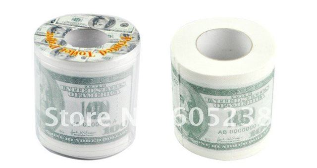 EMS Free Shipping Wholesale 48Pieces Money Toilet Roll - Dollar Bill Toilet Paper Novelty Toilet Roll