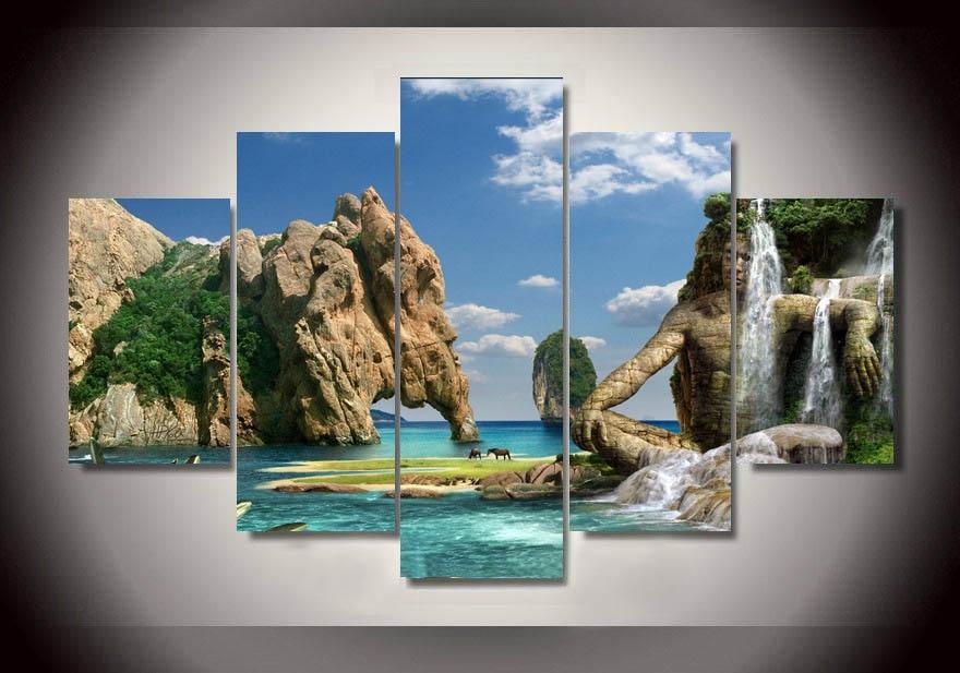 2017 Speciální nabídka (bez rámu) Nástěnné umění Vodopádové malby na plátně Texturované obrazy Home Decor Modulární obrázky 5 kusů