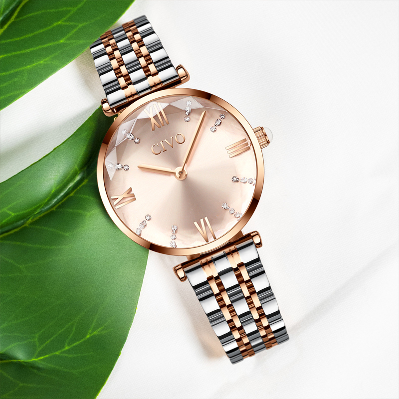 Luxury Crystal  Waterproof Rose Gold Steel Strap Ladies Wrist Watches  2