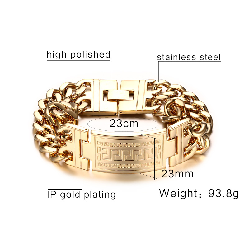 1089e7f64725c5 ... or Negative feedback About Mprainbow Mens Bracelets Stainless Steel  Greece Key ID Bracelet for Men Double Cuba Chain Fashion Jewelry Bold and  Chunky.