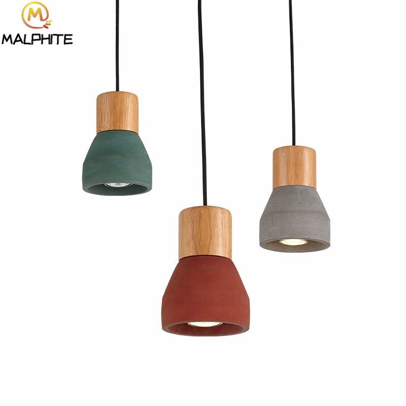 Pendentif LED nordique en bois lumières chambre salon Restaurant rouge ciment lampes suspendues Bar café luminaires décoratifs