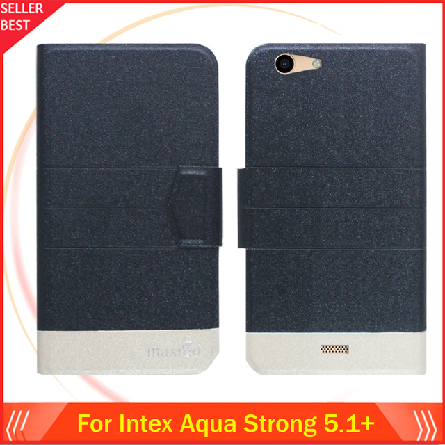 5 Colors Hot!! Intex Aqua Strong 5.1+ Case Ultra-thin Flip Fashion Leather Exclusive Phone Cover Folio Book Card Slots