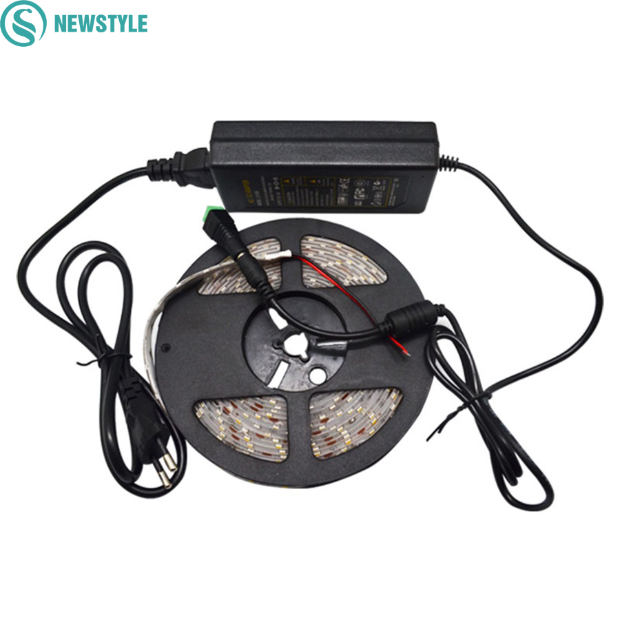 Super bright led strip light 5630 5M SMD 300 led white/Warm White 12V Waterproof+72W power supply adapter Free Shipping 1/set super slim 45 led 90cm dc12v soft smd light strip white led