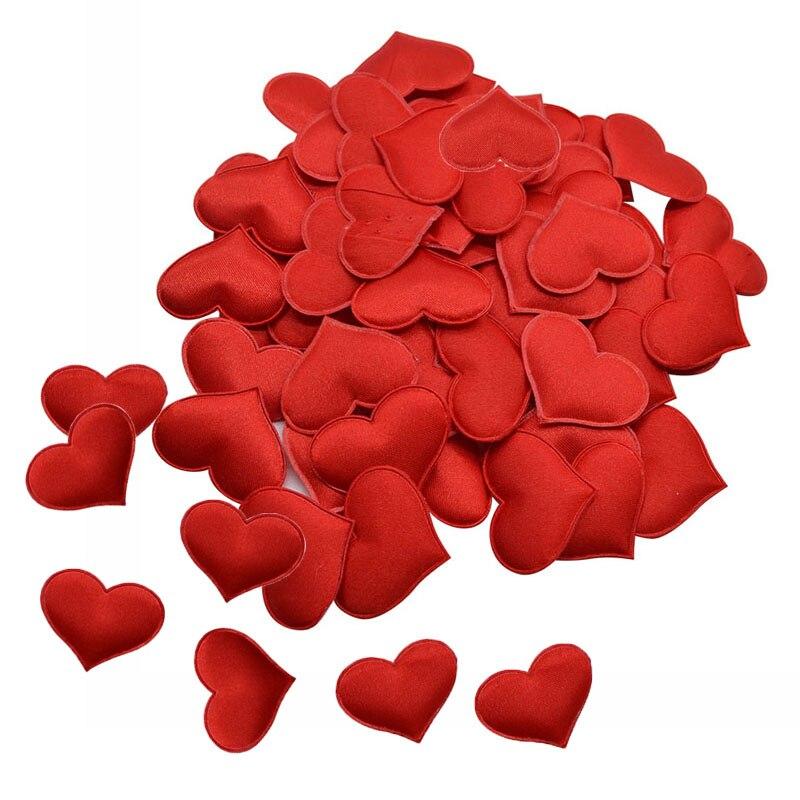 100 шт романтическое сердце посыпать конфетти губка атласная ткань лепестки в форме сердца свадебные конфетти сделай сам Ремесло День Свято...
