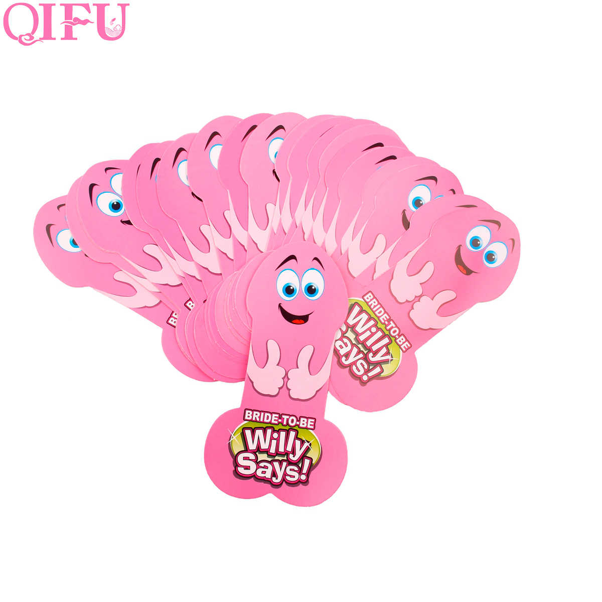 QIFU Hen Party accessories Game Penis Cards Bachelorette Party Bride To Be Team Party Supply  Aliance  Facial Express Card Pink