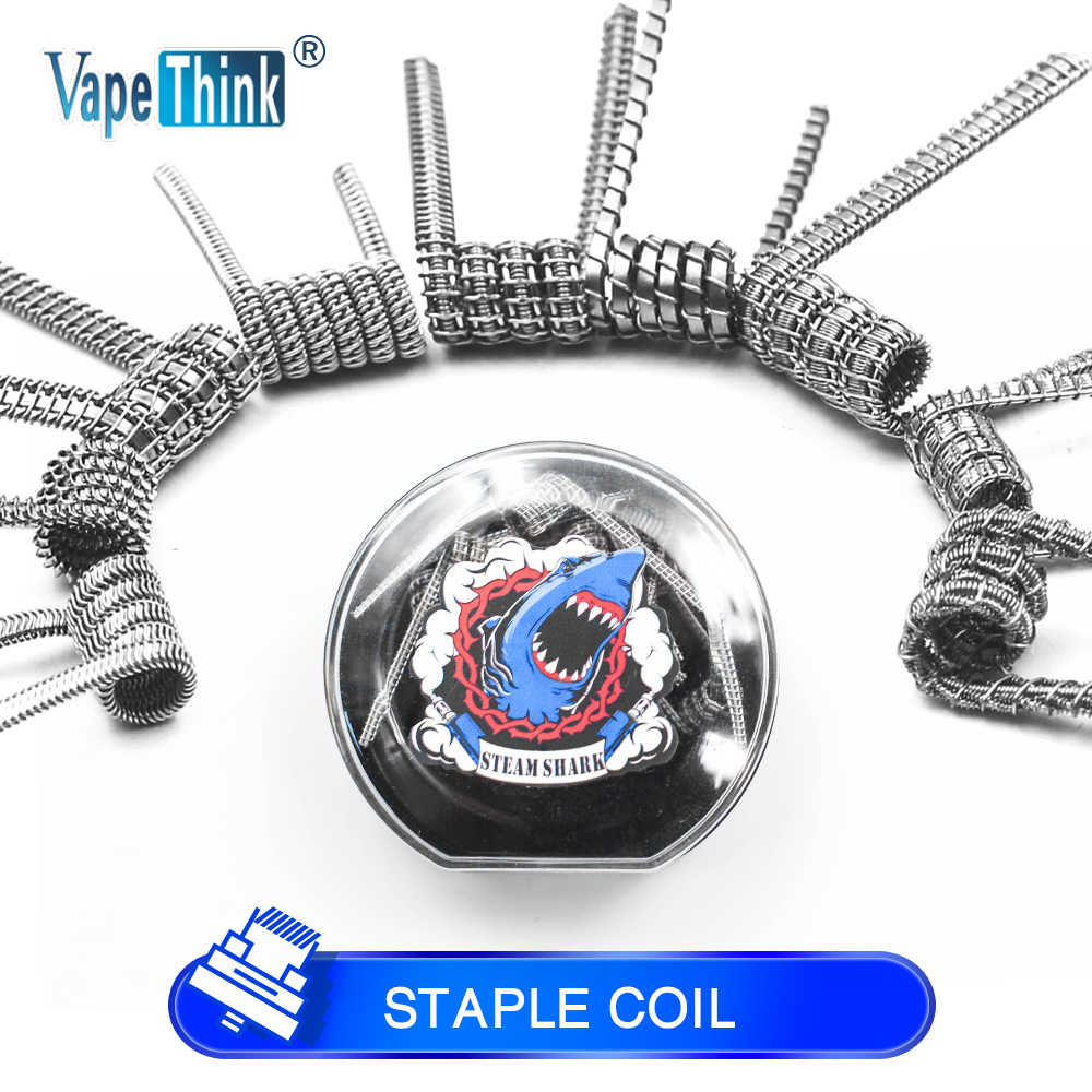 Vapethink Steam Shark Flat Tsuka Frame Clapton Nuke Fused S Alien Staggered Chain Staple Staggered Clapton Coil Wire For Rba Rta