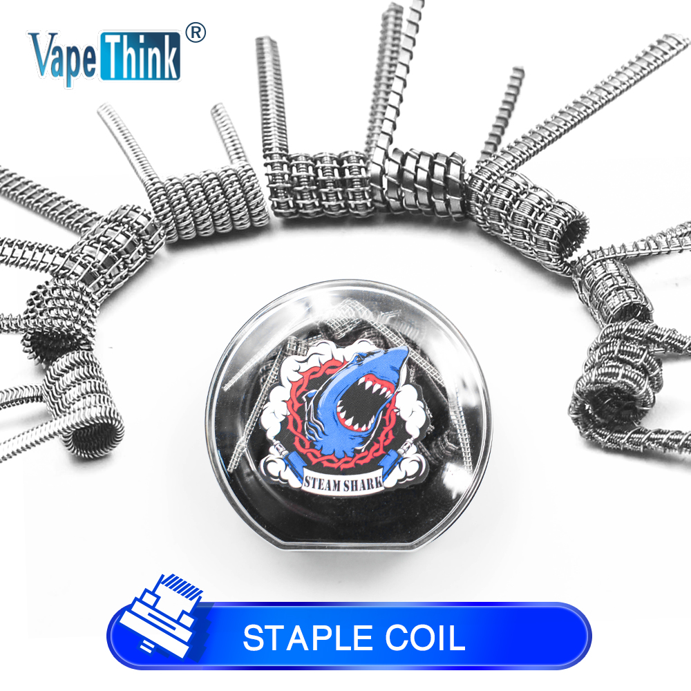 Vapethink Steam Shark Flat Tsuka Frame Clapton Nuke Fused S Alien Staggered Chain Staple Staggered Clapton coil wire FOR RBA rta готовая спираль staple staggered fused clapton coil 6x 0 1x0 5 0 2 мм