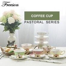 Europa Pastoralen Bone China Kaffeetasse Untertasse Set Britischen Kreative Keramik Teetasse 200 ml Erweiterte Porzellan Schwarz Tee Cup Tray
