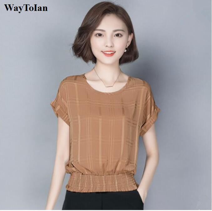 77b1c0021652 Candy colors S-2XL 2016 Summer Plus size women chiffon blouses shirts ladies  short sleeve