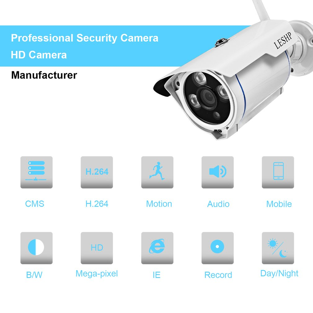 LESHP 1.0MP WIFI Wireless Bullet Security IP Camera Outdoor Waterproof Support Night Vision Motion Detection Smart Alarm 4 0mp poe ip bullet camera outdoor waterproof security camera day night vision motion detection intelligent alarm