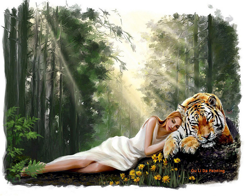 Free Shipping Sexy Women And Tiger Forest Landscape Oil Painting Canvas Printings On Canvas Home Wall Art Decoration Pictures
