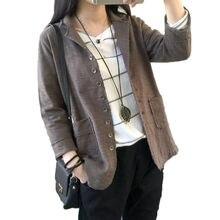 Винтажный женский пиджак большого размера из хлопка и льна с отворотом с рукавом семь Повседневный блейзер Feminino новая весенняя рубашка пальто f758