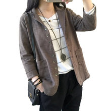 Vintage Suit Jacket Women Oversized Cotton And Linen Lapel Seven Sleeve Casual