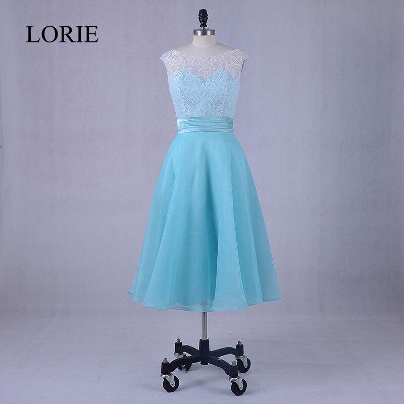 Mint   Bridesmaids     Dresses   Tea Length Scoop Neckline Cap Sleeve Robe Demoiselle Elegant Women Formal Wedding Party   Dress