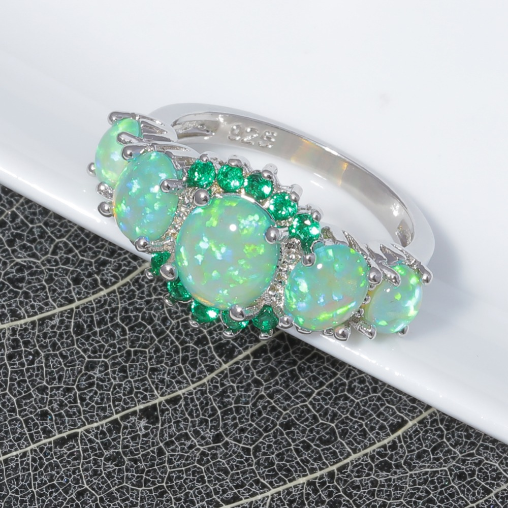 CiNily Yaradılmış Yaşıl Yanğın Opal Kristal Gümüşü - Moda zərgərlik - Fotoqrafiya 5