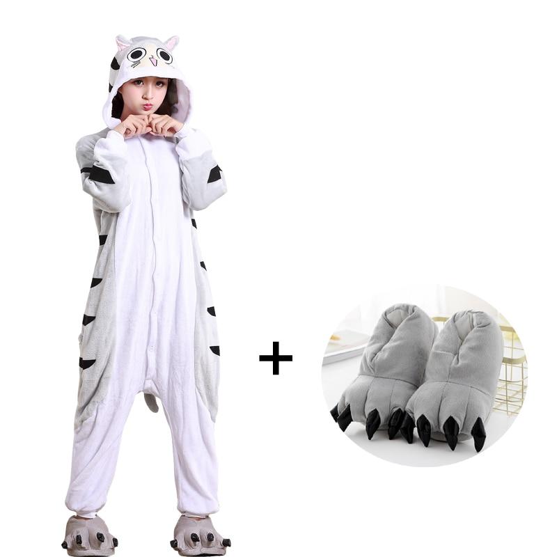 Soft Cartoon Cheese Cat Onesies For Adult Kigurumi Pajamas Flannel One Piece Pyjama Sleepwear Women Halloween Cosplay Costume