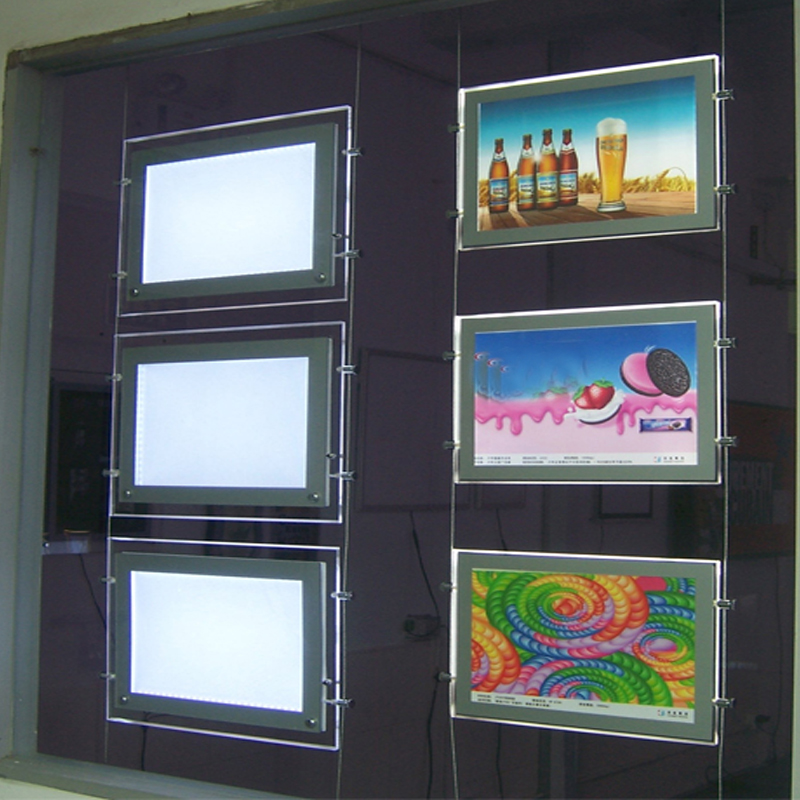 (3unit/Column) A4 Double Sided Magnetic Front Panel LED light Panels,Backlit Display Lightbox,Wire Hanging Display Systems