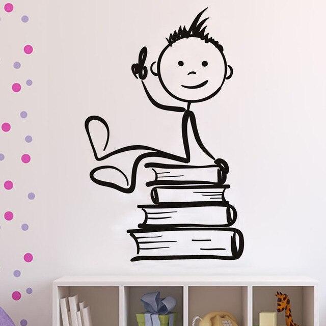 Elegant Freies Verschiffen Kunst Wandaufkleber DIY Hauptdekorationen Jungen Sitzen  Auf Die Bücher Wandtattoos Wohnzimmer Dekorative Aufkleber