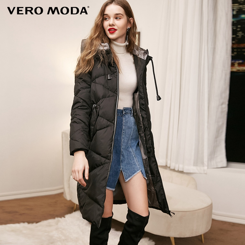 Vero Moda new hooded detachable sleeve drawstring long down jacket 318412525