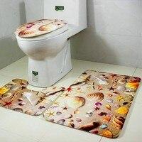 3 cái thiết lập mềm starfish shell rug bath mat flannel seashell đường viền bệ thảm nắp nhà vệ sinh nắp carpet phòng tắm thiết lập