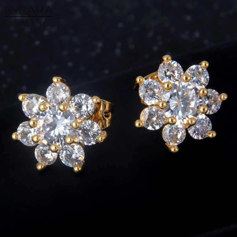 FYSARA Tiny Cute Snowflake Zircon Crystals Stud Earrings For Women Trendy Love Earrings White Gold Color Jewelry American Gift