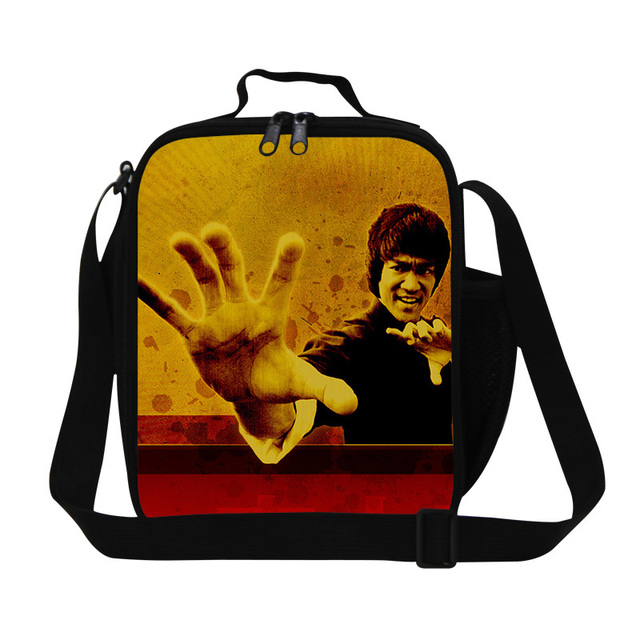Personalized insulated boys lunch bag mens Cool Bruce Lee food bag shoulder adult healthy picnic bags cool lunch bag for kids