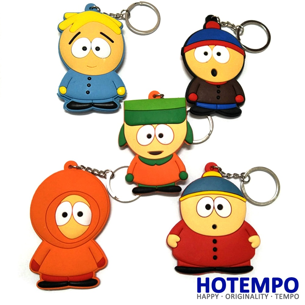 HOTEMPO Anime Cartoon South Park Action Figures Pendants Soft PVC rubber Keychains Figures Key Ring