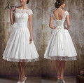 Free Shipping New coming lace up back white ivory short Tea Length Backless Wedding Dress Custom made