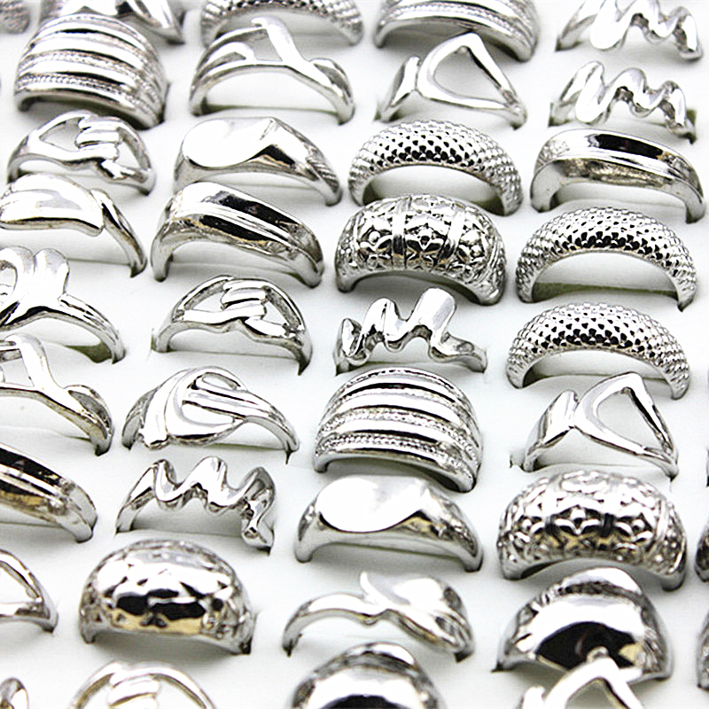 Wholesale lots bulk 50pcs silver ring men women unisex mixed style plating Individuality retro punk jewelry alloy rings brand