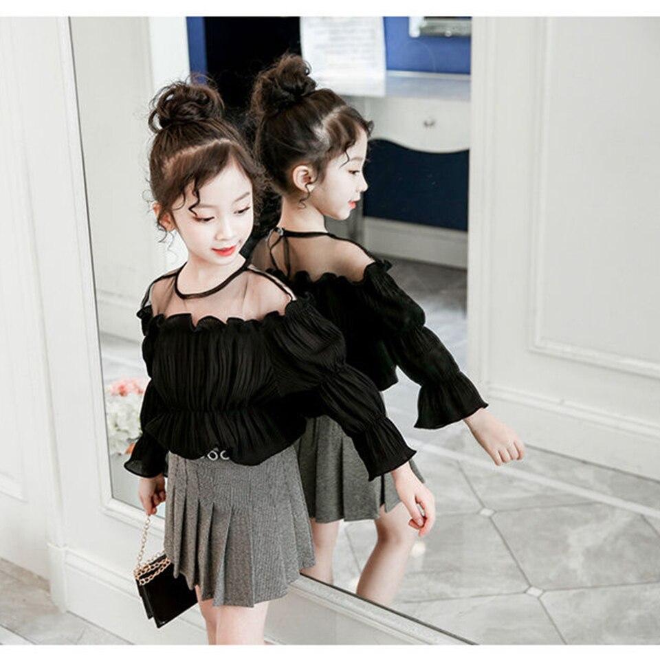 Fashion Black /White Color For 3-12 School Girls Blouse Spring Autumn Kids Shirt Long Seelve Girl Blouses Tops Children Clothes