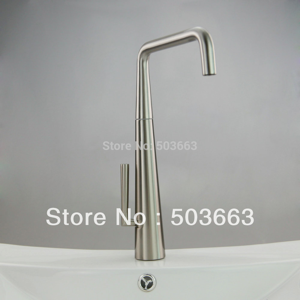 Nickel Brushed Finish Brass Kitchen Sink Faucet Bath Basin