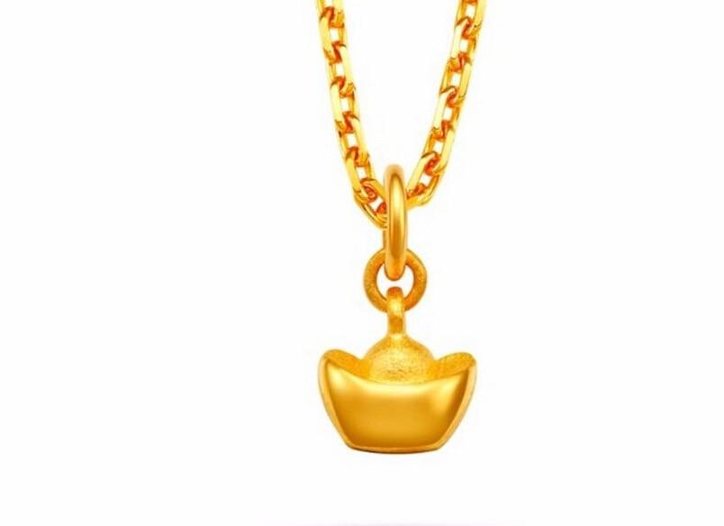 Classic new Pure 24K Solid 999 Yellow Gold Pendant Yuan Bao Pendant / 1.2g цена