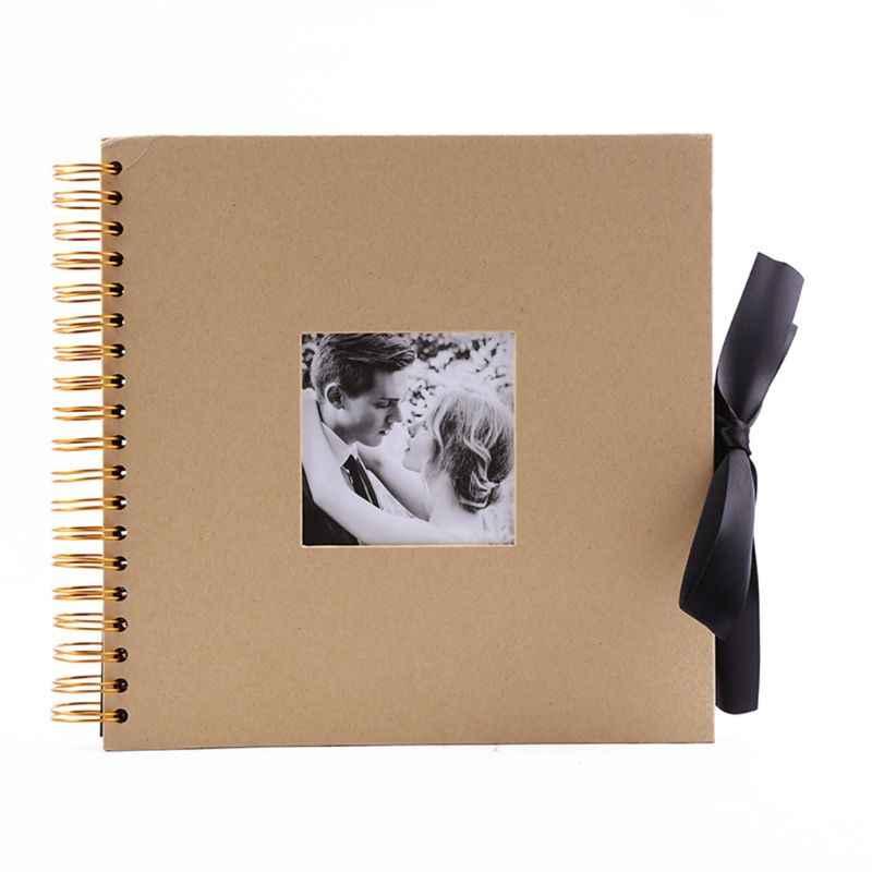 Álbum de recortes, colección de fotos negras de 10 pulgadas con apertura de fotos y nudo de lazo de regalo, 40 páginas de manualidades de papel para boda, Va