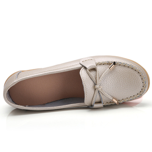 Image 2 - ZIMENIE Brand 16 Colors Soft Woman Flats Shoes Woman Butterfly Decoration Walking Shoes Leather Loafers Big Large Size 35~44