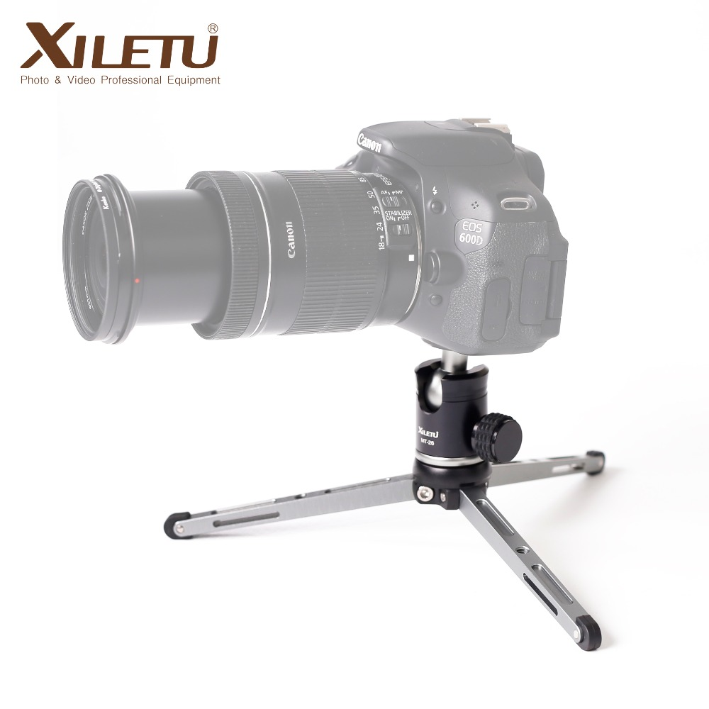 XILETU MT26 + XT15 High Bearing Desktop Bracket Mini Tabletop Stativ og Ball Head For DSLR Camera Mirrorless Kamera Smartphone