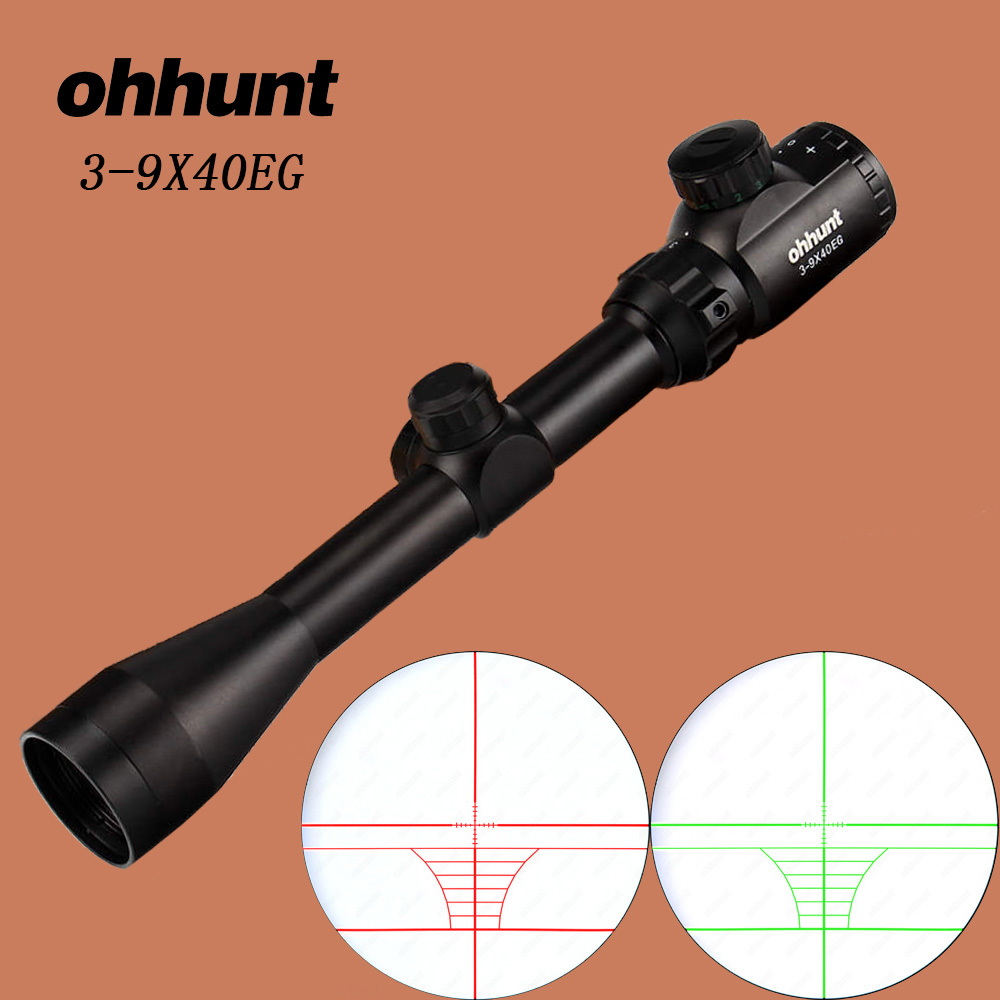 ohhunt 3-9X40EG Hunting Optics Sight Mil Dot Red Green Illuminated RifleScope Crossbow Rifle Scope For .177 .22 Caliber Airguns compact m7 4x30 rifle scope red green mil dot reticle with side attached red laser sight tactical optics scopes riflescope