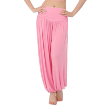 SZ-LGFM-High Waist Stretch Yoga Pants Flare Wide Leg Bloomers-Pink,S