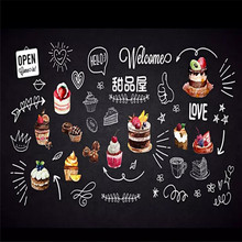 Custom Wallpapers - Vintage Hand Painted Dessert Blackboard Cake Shop Background Wall Painting High End Cloth
