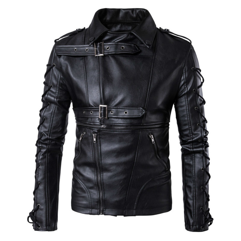 PU men collar Men's Black Solid faux mens Leather jackets jacket slim fit brand fashion coat Motorcycle Biker Jacket. Leather free shipping new vintage brand clothing mens cow leather jackets men genuine leather biker jacket motorcycle homme fitness