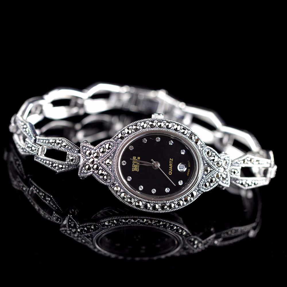 New Limited Edition Classic S925 Silver Pure Thai Silver Heart Bracelet Watches Thailand Process Rhinestone Bangle Dresswatch new limited edition classic elegant s925 silver pure thai silver bracelet watches thailand process rhinestone bangle dresswatch