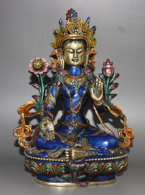 Statue de bouddha du bouddhisme tibétain en Bronze émail cloisonné Tara Guan Yin