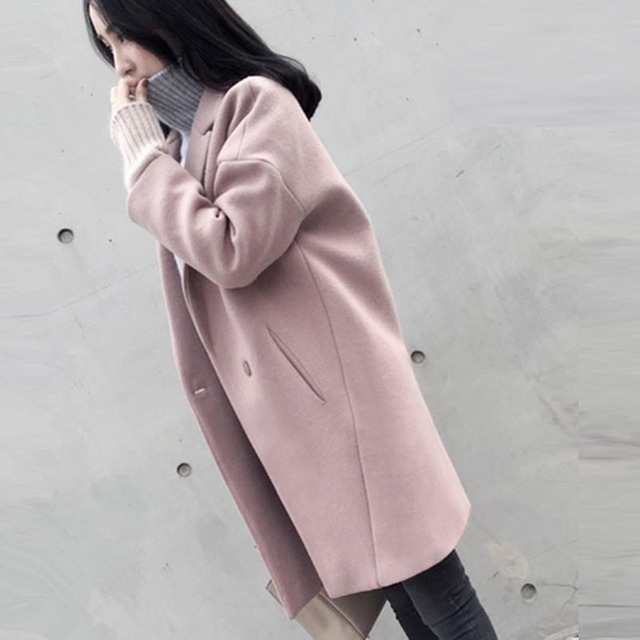 6960108f4 2018 moda Casulo Casaco De Lã das mulheres casaco famale casaco primavera outono  inverno fino de