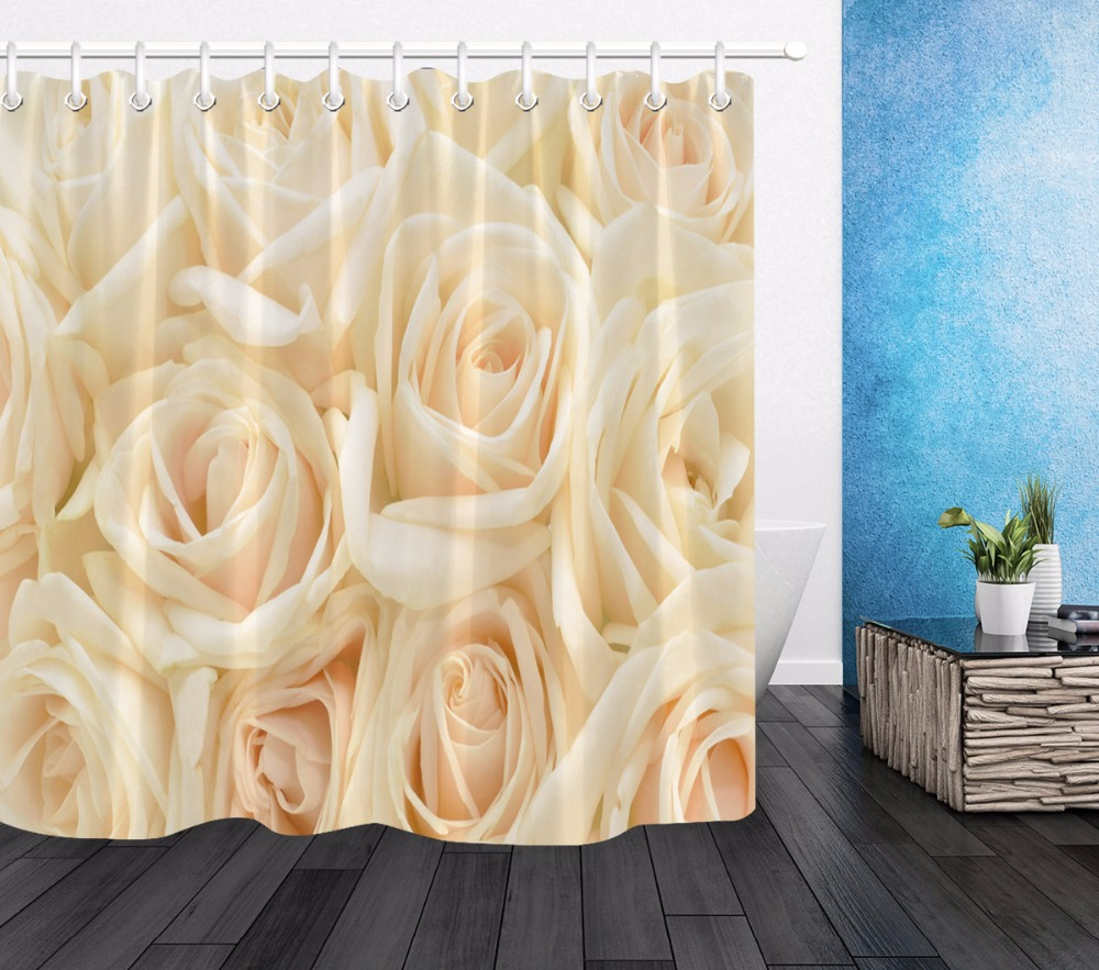 Us 14 29 45 Off Lb Rose Shower Curtain Fl Bathroom Extra Long Luxury Waterproof Mildew Resistant Washable Polyester Fabric For Bathtub Decor In