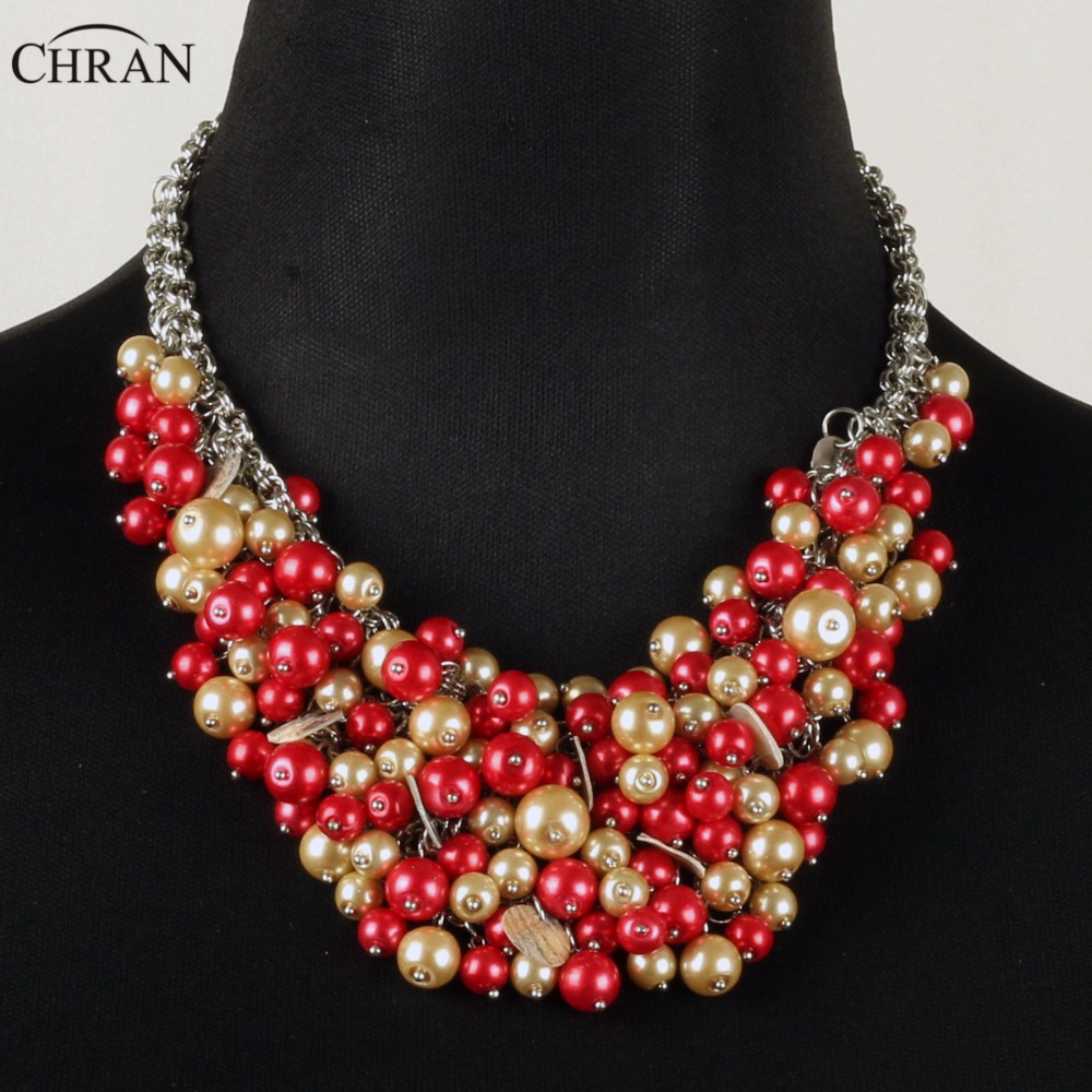 Chran Classic Design Vintage Accessories Elegant Rhodium Chain Faux Pearl  Jewelry Charm Beaded Choker Necklace For