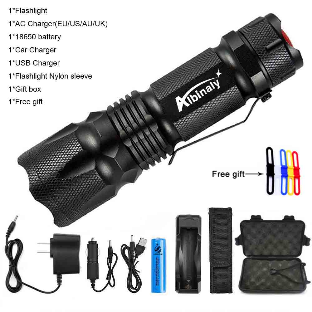 Rechargeable USB Bright Small Cree LED Torch Flashlight Beam Focusing Zoom UK